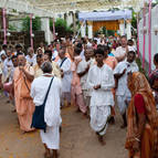 Devotees in Procession to the New Temple
