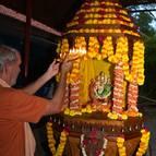Guru Maharaja Offers Arati to Laksmi-Narasimha