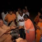 Srila Guru Maharaja Presenting Gifts and Maha-prasada to Guests
