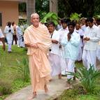 Guru Maharaja and Devotees Coming to the Temple Room