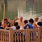 Guru Maharaja Giving Class at Kusuma Sarovara
