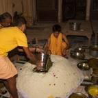 Kirtanananda and Damodara Gosvami with the Annakuta