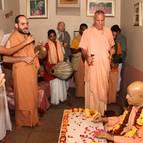 Guru Maharaja Offering Guru Puja to Prabhupada