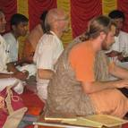 Devotees doing bhajana
