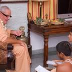 Guru Maharaja Giving Diksa to Syama-kunda and Satyaraja