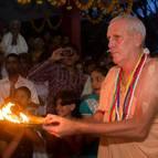 Guru Maharaja Offering Arati to Radha-Govinda on the Ratha