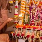 Guru Maharaja Offering Sandhya Arati