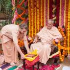 Gaura Gopala Presenting the Vyasa Puja Book to Guru Maharaja