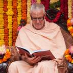 Guru Maharaja Reading the Vyasa Puja Book