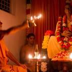 Visnu Maharaja Offers Arati to Srila Prabhupada in the Evening