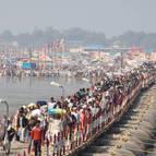 Pilgrims Crossing the Pontoon Bridge