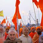 Hindus Carrying Saffron Flags
