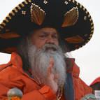 Hindu Guru, Swami Maheshwarananda in a Sombrero