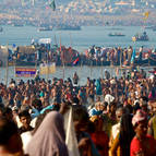 Bathing in the Conflluence of Ganga and Yamuna