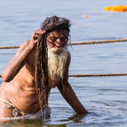 Old Sadhu Bathing in the Ganga