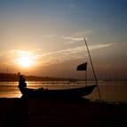 A Lone Boat at Dusk