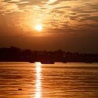 Boats on the Ganga at Dusk