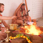 Gaura-Gopala Offers Oblations of Ghee into the Fire
