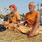 Guru Maharaja & Visnu Maharaja Chant Gayatri on the Banks of the Ganga