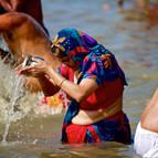 A Hindu Lady Worships Ganga