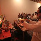 Babaji Maharaja Offers Arati to Mahaprabhu