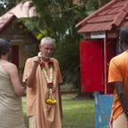 Srila Guru Maharaja Talking to Devotees Near Govardhana Hill