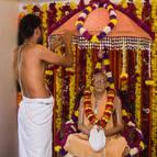 Advaita Decorating Prabhupada's Samadhi