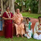 Guru Maharaja with New Initiates – Lila-sakti, Bhakti-Candrika, Krsna-Madhuri and Manohara