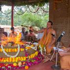 Giri Maharaja and Gaura-Gopala Performing the Yajna