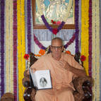 Guru Maharaja Showing the Article of Bhaktivinoda to the Devotees