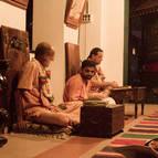 HH Visnu Maharaja and HH Giri Maharaja with Syamasundara Prabhu Translating