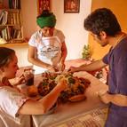 Devotees preparing Govardhana Hill