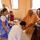 Guru Maharaja initiates Leo as Narasimha Dasa