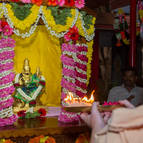 Laksmi-Narasimha being offered arati on their ratha