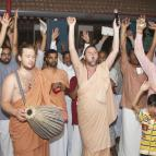 Devotees at the end of the kirtana