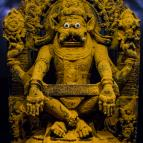 Yoga Narasimha covered with turmeric before His abhiseka